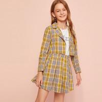 Пиджак и юбка в клетку для девочек