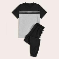 Мужскаая контрастная футболка и спортивные брюки