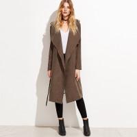 Коричневое замшевое длинное пальто с запахом