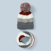 Контрастная трикотажная шапочка и шарф кольца