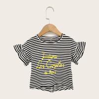 Полосатая футболка с текстовым принтом для девочек