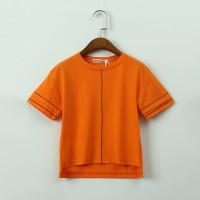 Оранжевый Многоуровневый слой Полосатый Повседневный Футболки