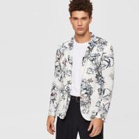Мужской пиджак с цветочным принтом, карманом