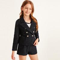 Двубортный твидовый пиджак и шорты для девочек