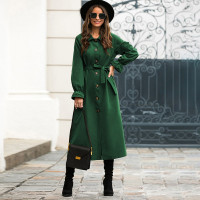 Пальто тренч с пуговицами, поясом и оригинальным