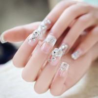 Блестящие прозрачные накладные ногти 24шт