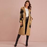 Твидовое длинное пальто в клетку
