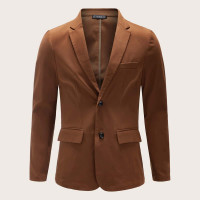 Мужской однотонный пиджак с клиновидным вырезом