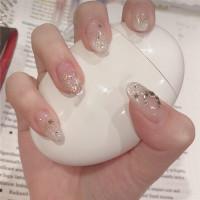 Блестящие накладные ногти 24шт с лентой