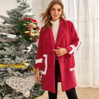 Контрастное двубортное плюшевое пальто