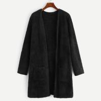 Открытое пальто тедди с двумя кармана