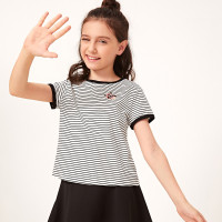 Полосатая футболка с цветочной вышивкой для девочек