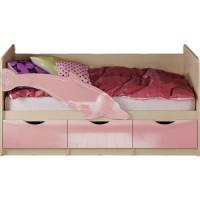 Кровать Миф Дельфин 1 дуб беленый/розовый