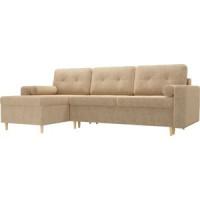 Угловой диван Мебелико Белфаст микровельвет бежевый левый