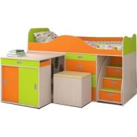 Кровать чердак Ярофф Малыш люкс дуб молочный/оранж