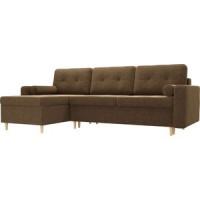 Угловой диван Мебелико Белфаст микровельвет коричневый левый