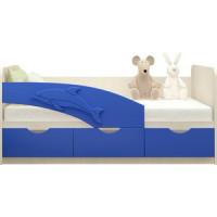 Кровать Миф Дельфин дуб беленый/синий ПВХ