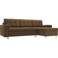 Угловой диван Мебелико Белфаст микровельвет коричневый правый