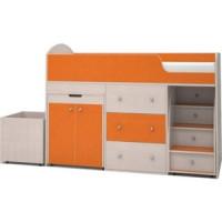 Кровать чердак Ярофф Малыш 70x160 дуб молочный/оранжевый
