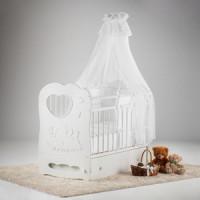 Кровать детская Антел Слоненок белый маятник поперечный