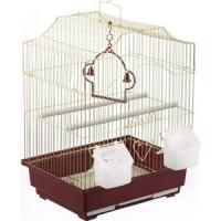 Клетка N1 30х23х39см золотая, фигурная, укомплектованная для птиц