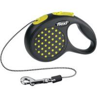 Рулетка Flexi Design XS трос 3м черная/желтый горошек