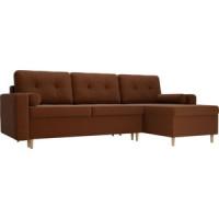 Угловой диван Мебелико Белфаст рогожка коричневый правый
