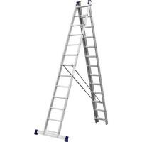 Лестница трехсекционная Сибин со стабилизатором 13 ступеней