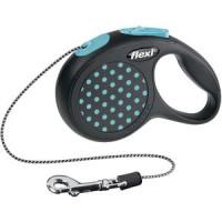 Рулетка Flexi Design XS трос 3м черная/голубой горошек