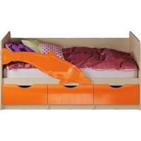 Кровать Миф Дельфин 1 дуб беленый/оранжевый
