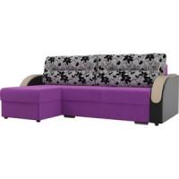 Угловой диван Лига Диванов Дарси микровельвет фиолетовый