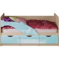 Кровать Миф Дельфин 1 дуб беленый/голубой