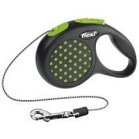 Рулетка Flexi Design XS трос 3м черный/зеленый горошек