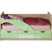 Кровать Миф Дельфин 1 дуб беленый/салатовый