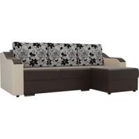 Угловой диван Лига Диванов Монако экокожа коричневый