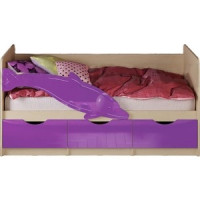 Кровать Миф Дельфин 1 дуб беленый/фиолетовый