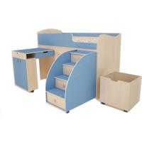 Кровать чердак Ярофф Малыш 80x180 дуб молочный/голубой