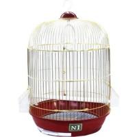 Клетка N1 33х53см золотая, круглая, укомплектованная для птиц