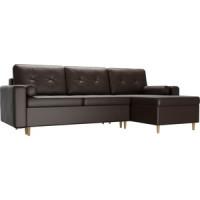 Угловой диван Мебелико Белфаст эко кожа коричневый