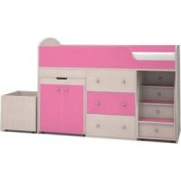 Кровать чердак Ярофф Малыш 70x160 дуб молочный/розовый