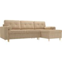 Угловой диван Мебелико Белфаст микровельвет бежевый правый
