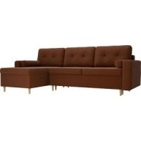 Угловой диван Мебелико Белфаст рогожка коричневый левый